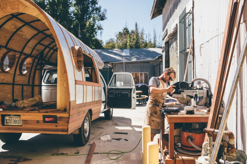 Jay Nelson building Worn Wear Repair Truck. Patagonia Campus, Ventura, CA